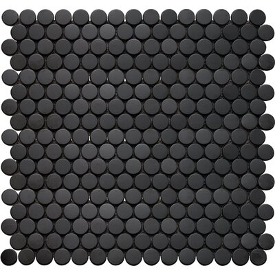 Inox Penny Round 12 x 12 Glass Mosaic Tile in Black
