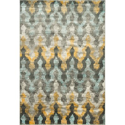 Ramer Trellis Soft Gray/Gold Area Rug Rug Size: Rectangle 53 x 76