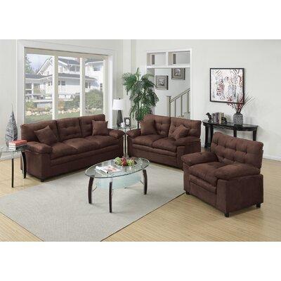 Ferranti 3 Piece Living Room Set Upholstery: Chocolate
