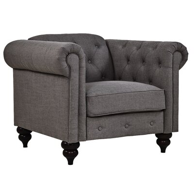 Charlton Home Chesterfield Chair Upholstery: Charcoal