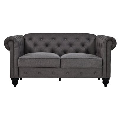Charlton Home Chesterfield Loveseat Upholstery: Charcoal