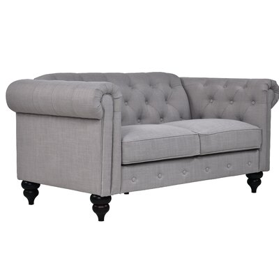 Charlton Home Chesterfield Loveseat Upholstery: Fog