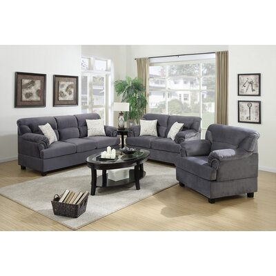Ferrara 3 Piece Living Room Set Upholstery: Gray