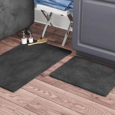 Garnell Chenille Plush Large 2 Piece Bath Mat Set Color: Gray