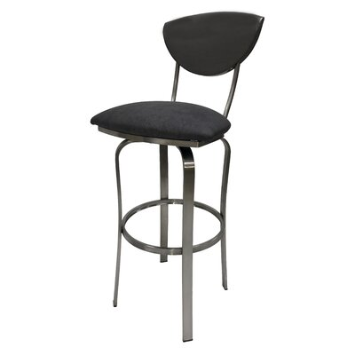 Mccracken 35 Swivel Bar Stool Upholstery: Gray