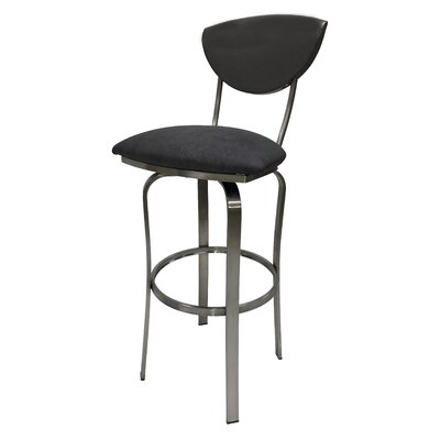Mccracken 26 Swivel Bar Stool Upholstery: Gray