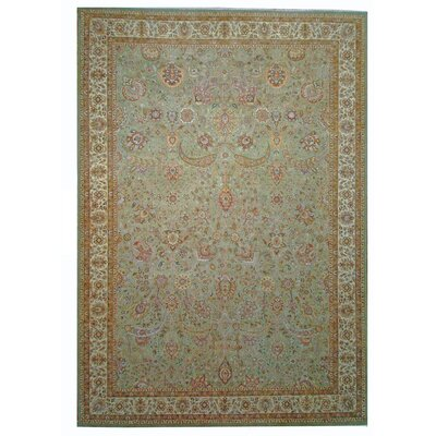 One-of-a-Kind Tabriz Hand-Knotted Wool Beige Area Rug