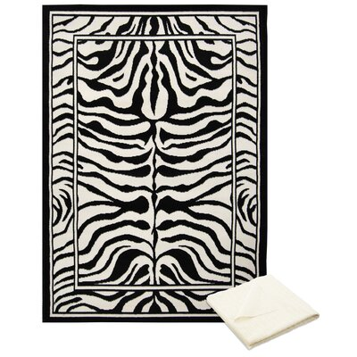 Barlow Black/White Area Rug with Rug Pad Rug Size: Rectangle 78 x 107