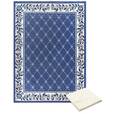 Ingham Classic Border Blue Area Rug with Rug Pad Rug Size: Rectangle 78 x 107