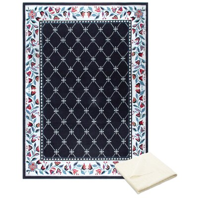 Ingham Classic Border Black/Cream Area Rug with Rug Pad Rug Size: Rectangle 52 x 74