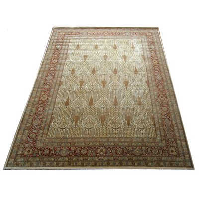 One-of-a-Kind Tabriz Hand-Knotted Wool Ivory Area Rug