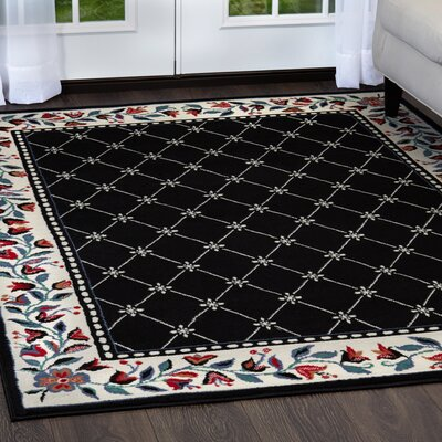 Modena Black Area Rug Rug Size: Rectangle 53 x 75
