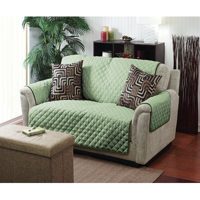 Reversible Quilted T-Cushion Armchair Slipcover Upholstery: Sage/Olive