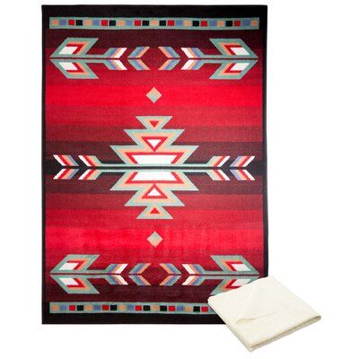 Swinney Classic Border Red Area Rug with Rug Pad Rug Size: Rectangle 52 x 74