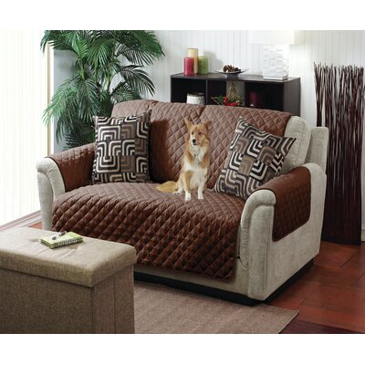 Reversible Quilted T-Cushion Armchair Slipcover Upholstery: Chocolate/Taupe