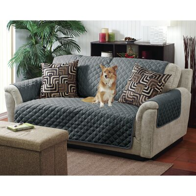 Reversible Quilted T-Cushion Armchair Slipcover Upholstery: Gray/Charcoal