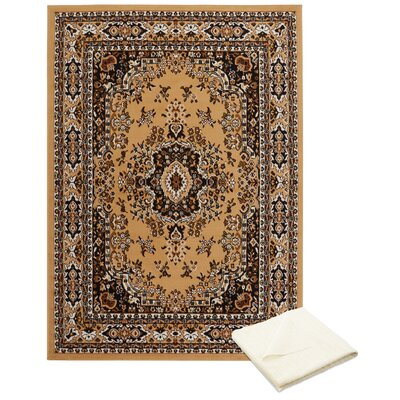 Rossman Persian Cream/Brown Area Rug with Rug Pad Rug Size: Rectangle 52 x 74
