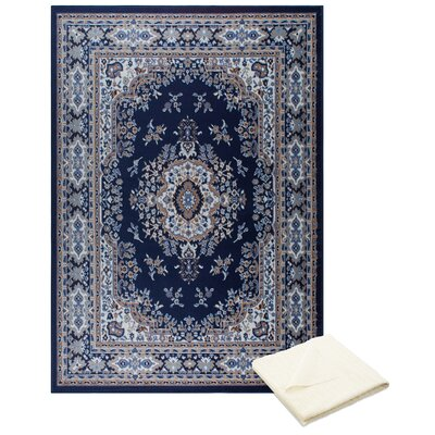 Rossman Persian Navy/Blue Area Rug with Rug Pad Rug Size: Rectangle 52 x 74