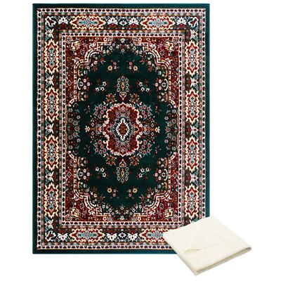 Rossman Persian Green Area Rug with Rug Pad Rug Size: Rectangle 78 x 107
