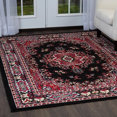 Lilly Black Area Rug Rug Size: Rectangle 53 x 75