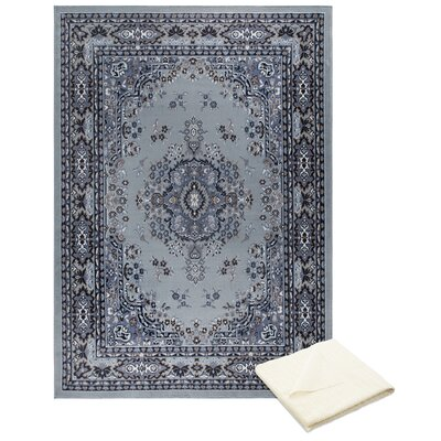 Rossman Persian Silver/Gray Area Rug with Rug Pad Rug Size: Rectangle 78 x 107