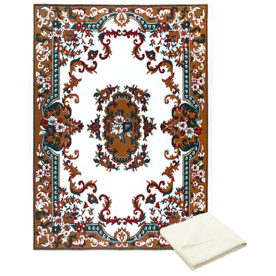 Rossman Brown/Ivory Area Rug with Rug Pad Rug Size: Rectangle 52 x 74