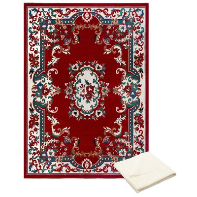 Rossman Red/Ivory Area Rug with Rug Pad Rug Size: Rectangle 52 x 74