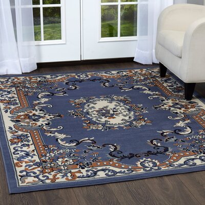 Lilly Country Blue Area Rug Rug Size: Rectangle 37 x 52