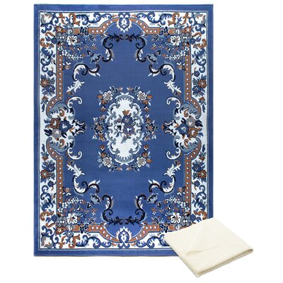 Rossman Blue Area Rug with Rug Pad Rug Size: Rectangle 52 x 74