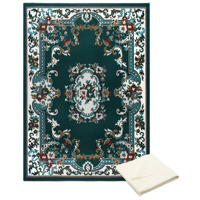 Rossman Green Area Rug with Rug Pad Rug Size: Rectangle 52 x 74