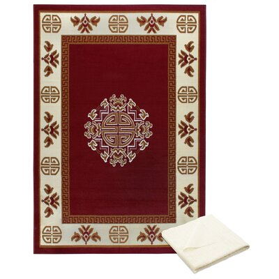 Ingham Tribal Medallion Red Area Rug with Rug Pad Rug Size: Rectangle 52 x 74