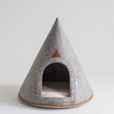 Gray Felt Pet Cave Hooded Dog Bed with Arch Door