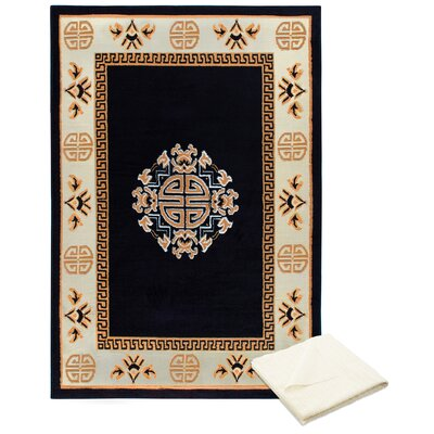 Ingham Tribal Medallion Brown/Ivory Area Rug with Rug Pad