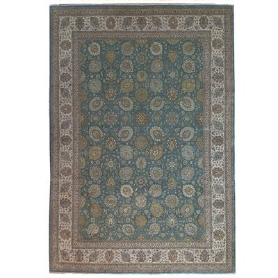 One-of-a-Kind Tabriz Hand-Knotted Wool Gray Area Rug