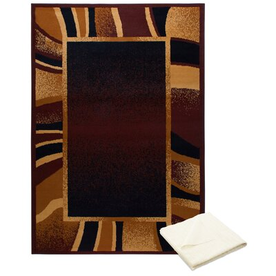 Gutman Wavy Brown Indoor Area Rug with Rug Pad