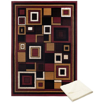 Gutman Blocks Red/Brown Area Rug with Rug Pad Rug Size: Rectangle 52 x 74