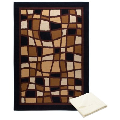 Gutman Ebony Brown Area Rug with Rug Pad