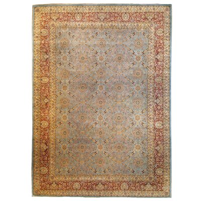 One-of-a-Kind Tabriz Hand-Knotted Wool Yellow Area Rug