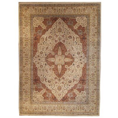 One-of-a-Kind Tabriz Hand-Knotted Wool Brown Area Rug