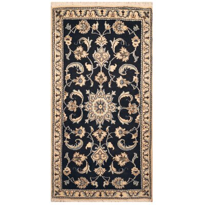 One-of-a-Kind Rosen Hand-Knotted Navy/Ivory Area Rug