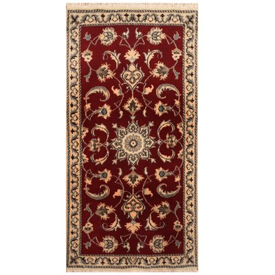 One-of-a-Kind Rosalez Hand-Knotted Red/Ivory Area Rug