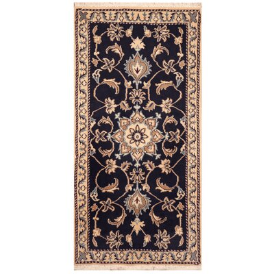 One-of-a-Kind Rosborough Hand-Knotted Navy/Ivory Area Rug
