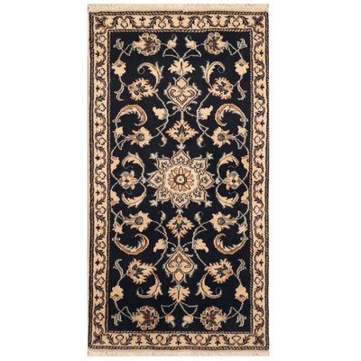 One-of-a-Kind Roselli Hand-Knotted Navy/Ivory Area Rug