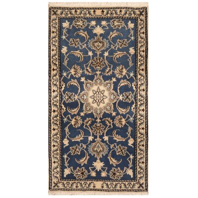 One-of-a-Kind Rosario Hand-Knotted Wool Blue/Ivory Area Rug