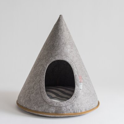 Gray Felt Pet Cave Hooded Dog Bed with Oval Door