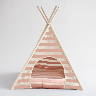 Striped Pet Teepee Hooded Dog Bed