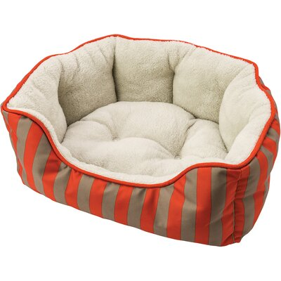 Sleep Zone Cabana Step in Scallop Shape Bolster Dog Bed Color: Orange, Size: 20 W x 14 D x 6 H