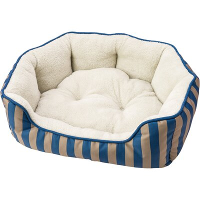 Sleep Zone Cabana Step in Scallop Shape Bolster Dog Bed Color: Blue, Size: 30 W x 18 D x 8 H