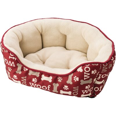 Sleep Zone Woof Step in Scallop Bolster Dog Bed Color: Burgundy, Size: 20 W x 14 D x 7 H