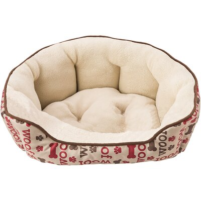 Sleep Zone Woof Step in Scallop Bolster Dog Bed Color: Taupe, Size: 20 W x 14 D x 6 H